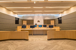 A courtroom in the new facility